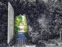 Trädgårds- dörröppning från svartvitt som ska färgas fotografering för bildbyråer