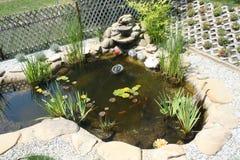 Trädgårds- damm med vattenfallet Arkivfoto