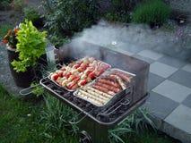 Trädgårds- galler - grillfest Arkivbild