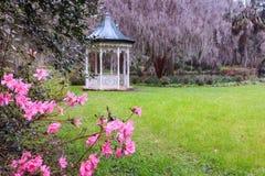 Trädgårds- Gazebo för vit i våren Charleston South Carolina Arkivbild
