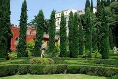 Trädgårds- Giardino Giusti, Verona, Italien Arkivfoto