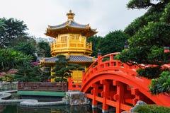 trädgårds- Hong Kong lian nan paviljong Arkivfoto