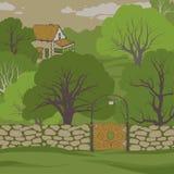 trädgårds- hus bild för bakgrundsbegreppsenergi Stock Illustrationer