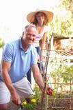 trädgårds- koppla av för dotterfader som är tonårs- royaltyfri bild