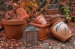 trädgårds- krukar för fall Royaltyfri Foto