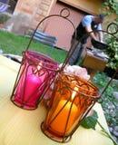 trädgårds- lampor för ambiancebbq Arkivbild