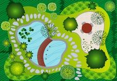 trädgårds- liggandeplan för design Arkivfoton