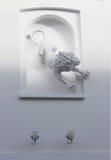 Trädgårds- Lionskulptur Arkivbild
