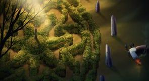 Trädgårds- Mandala - Digital målning Royaltyfri Fotografi