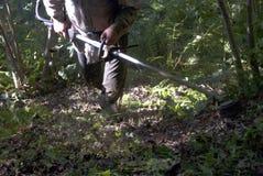Trädgårds- meja för bonde och rengöra Arkivbilder