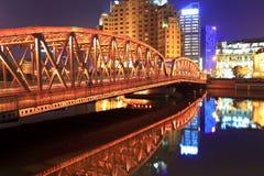 trädgårds- natt shanghai för bro Royaltyfri Fotografi