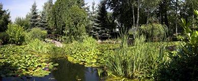 trädgårds- panorama arkivfoton