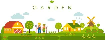 Trädgårds- panorama- landskapbakgrund för lantgård i plan stil vektor illustrationer