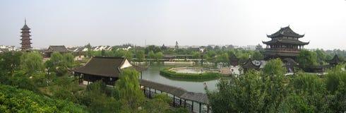 trädgårds- panorama suzhou Arkivbilder