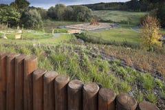 trädgårds- park för arkitektur Arkivbild