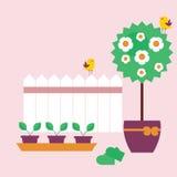Trädgårds- plats i plan stil royaltyfri illustrationer