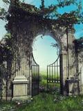 Trädgårds- port med vårvinrankor royaltyfri illustrationer