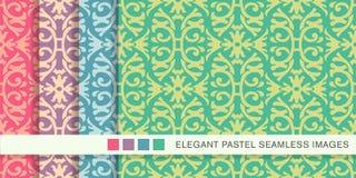 Trädgårds- ram F för sömlöst pastellfärgat för bakgrundsuppsättningspiral kors för kurva vektor illustrationer