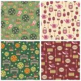 trädgårds- seamless wallpapers royaltyfri illustrationer