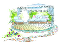 Trädgårds- soffaumbrellofärg royaltyfri illustrationer