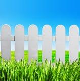 Trädgårds- staket och gräsplangräsmatta Arkivfoto