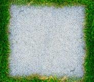 Trädgårds- stenbana med gräs som växer upp mellan stenarna Royaltyfria Bilder