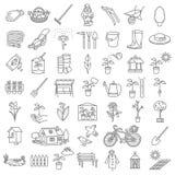 Trädgårds- symbolshjälpmedeluppsättning royaltyfria foton