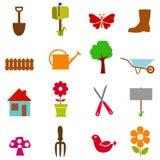 trädgårds- symbolsset Fotografering för Bildbyråer
