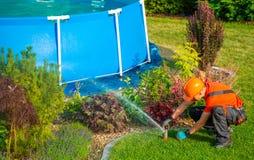 Trädgårds- tekniker för gräsmatta fotografering för bildbyråer