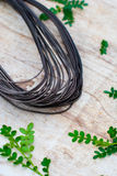 Trädgårds- tråd på grov träbakgrund Royaltyfria Foton