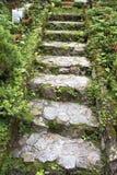 Trädgårds- trappa för Rock arkivbild