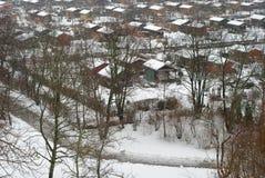 trädgårds- tyska hus Arkivbild