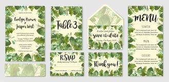 Trädgårds- uppsättning för inbjudan för lövverkvattenfärgbröllop, kuvert, tabl vektor illustrationer