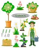 Trädgårds- uppsättning med en trädgårdsmästare Royaltyfri Foto