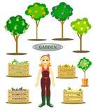 trädgårds- uppsättning med en trädgårdsmästare, träd och askar Fotografering för Bildbyråer