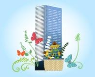 trädgårds- uteplatsbegrepp för stad - komma med naturen till den stads- uppehället Arkivfoton