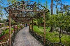 Trädgårds- väg in Arkivbild