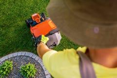 Trädgårdsmästare Lawn Mowing arkivbilder