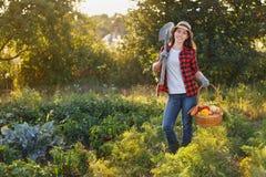 Trädgårdsmästare med korgen av grönsaker royaltyfria bilder