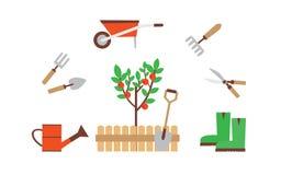 Trädgårdsmästare med trädgårds- hjälpmedel royaltyfri illustrationer