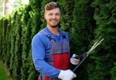 Trädgårdsmästare som arbetar i en trädgård Royaltyfria Bilder