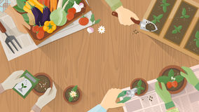 Trädgårdsmästare som tillsammans arbetar vektor illustrationer