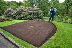 Trädgårdsmästare Tending Flower Bed i Halifax offentliga trädgårdar, Nova Scotia Royaltyfri Bild