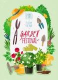 Trädgårdtecknad filmaffisch stock illustrationer