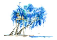 Trädhus för ungar Pil och lake stock illustrationer
