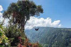 Trädhus i Banos De Aqua Santa, Ecuador Arkivfoto