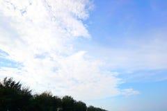 Trädkontur på bakgrund för blå himmel och moln Royaltyfri Fotografi
