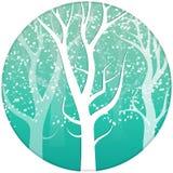 Trädnaturen i vintern lämnar att falla sprider snöig vit lurar stock illustrationer