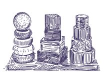 Trädragen pyramidleksakhand vektor illustrationer