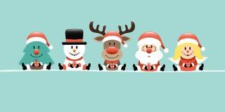 Trädsnögubberen Santa And Angel Retro Banner royaltyfri illustrationer